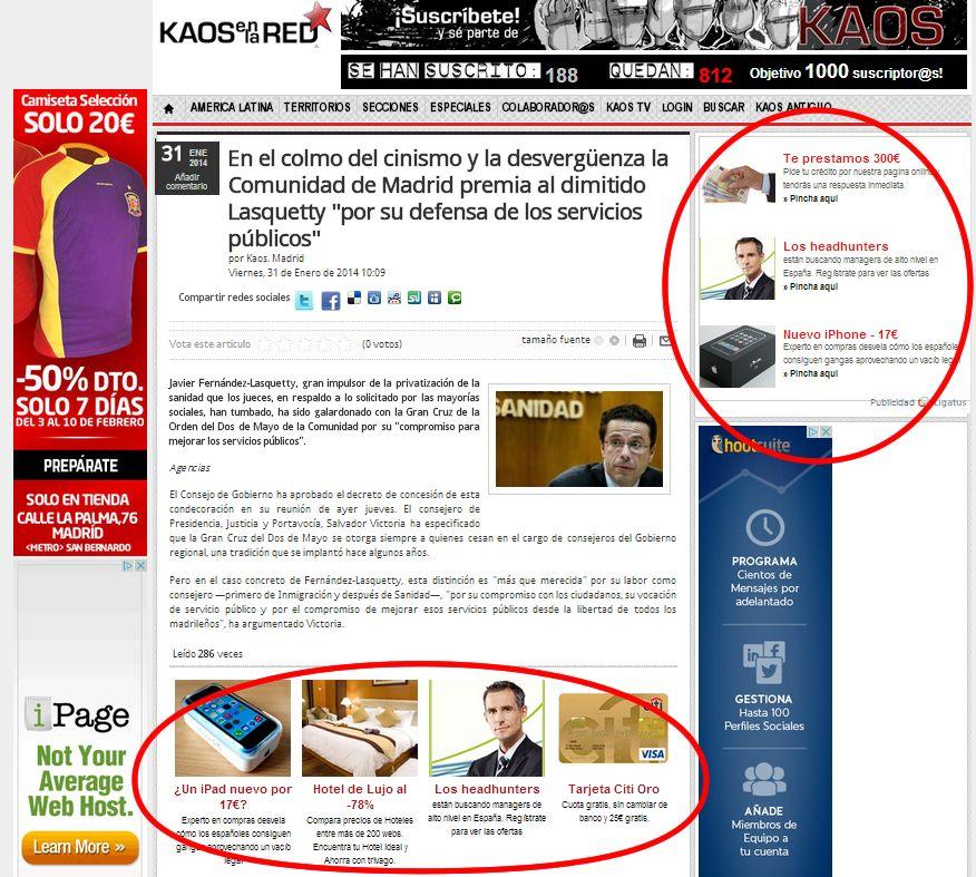 Localización de los anuncios que no casan con el relato de la web de kaos en la red en el site