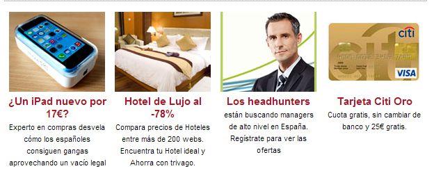 Ejemplos de anuncios que aparecen en la web Kaos en la Red