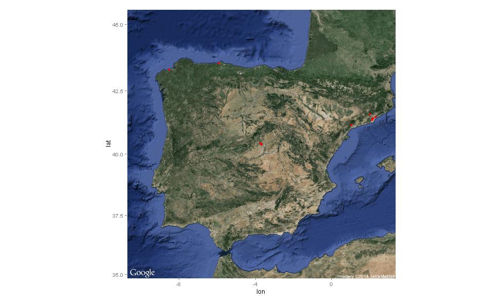 Mapa de twitts geolocalizados con el #hashtag #NochebuenaconPodemos