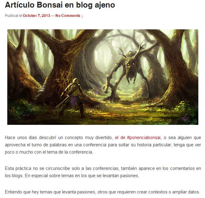 Artículo Bonsai en blog ajeno